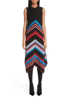 Proenza Schouler Chevron Stripe Wool & Silk Blend Ottoman Dress
