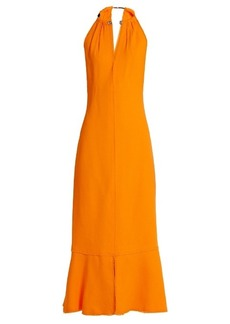 Proenza Schouler Choker-neck crepe midi dress