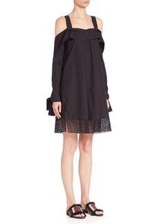Proenza Schouler Cold-Shoulder Cotton Poplin Dress