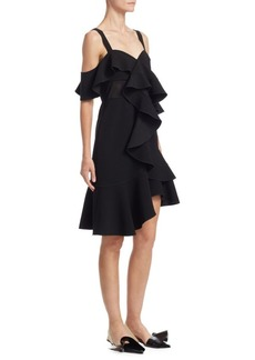 Proenza Schouler Cold-Shoulder Ruffle Dress