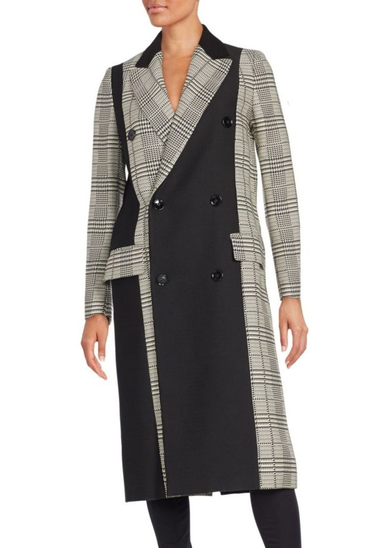 Proenza Schouler Colorblock Glen Plaid Double Breasted Coat