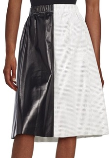 Proenza Schouler Colorblock Perforated Leather Skirt