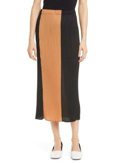 Proenza Schouler Colorblock Plissé Pleat Midi Skirt