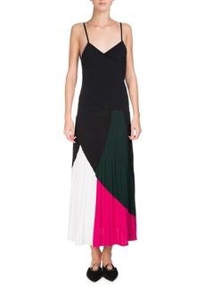 Proenza Schouler Colorblock Sunburst-Pleat Camisole Midi Dress