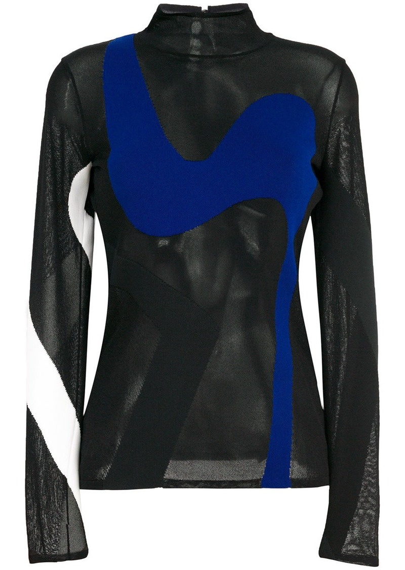 Proenza Schouler colour-block sheer knitted top
