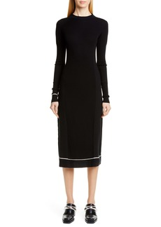 Proenza Schouler Contrast Trim Wool Blend Midi Sweater Dress