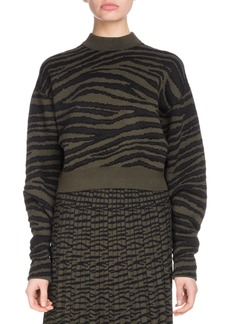 Proenza Schouler Crewneck Tiger-Jacquard Cropped Pullover Sweater