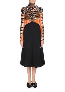 Proenza Schouler Crochet Cutout Top with Boucle Midi Dress