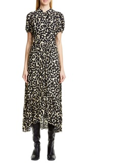 Proenza Schouler Dot Print Ruched Cutout Midi Dress