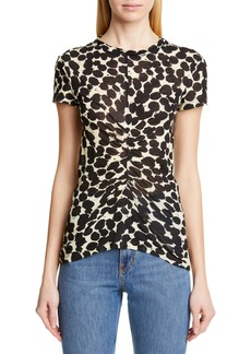 Proenza Schouler Dot Print Ruched Tissue Jersey Tee