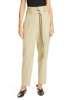 Proenza Schouler Double Belt High Waist Stretch Wool Pants