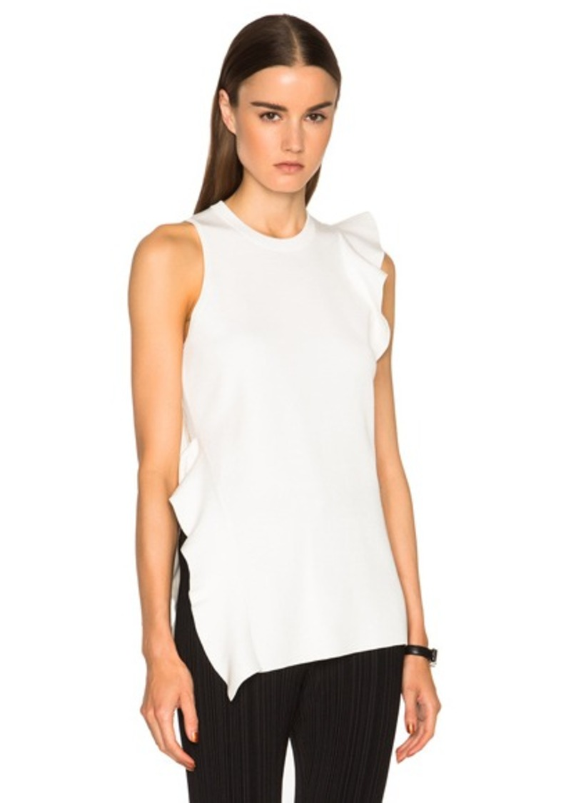 Proenza Schouler Double Face Silk Knit Ruffle Top