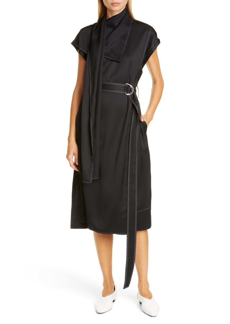 Proenza Schouler Drape Neck Scarf Midi Dress