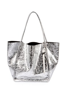 Proenza Schouler Extra-Large Crackled Metallic Tote Bag  Gray