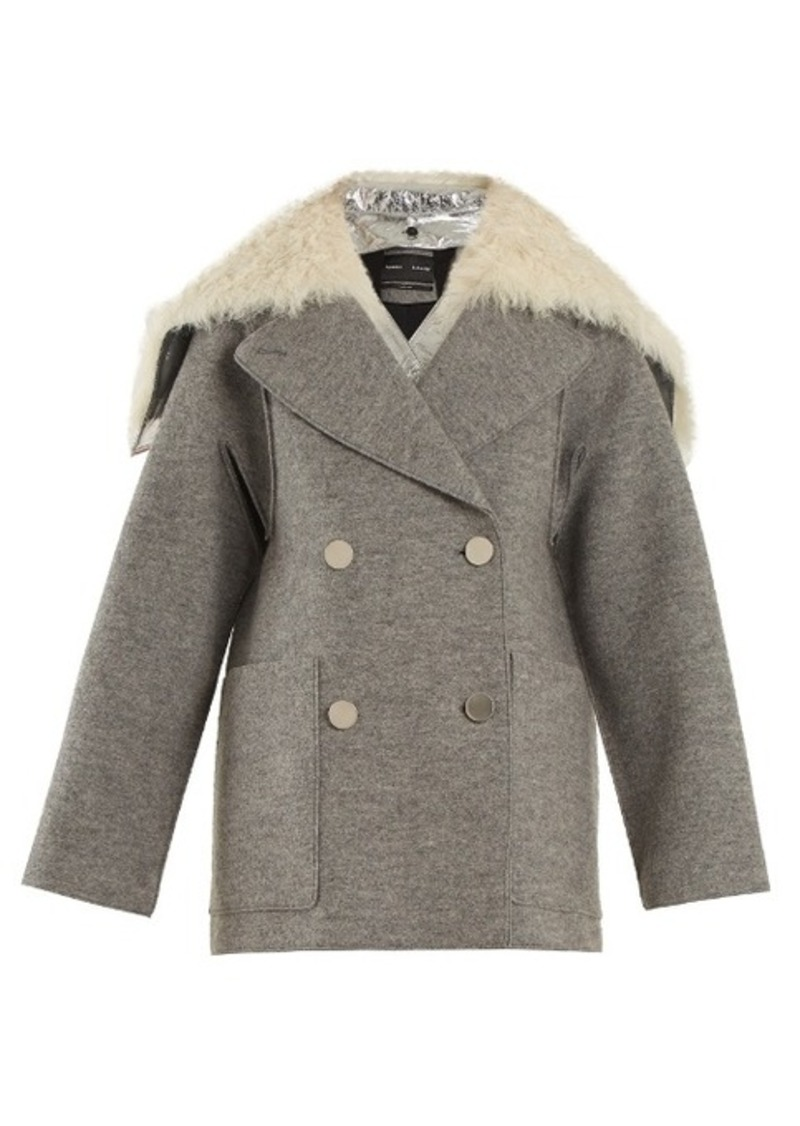 Proenza Schouler Faux fur-trimmed detachable-collar wool coat