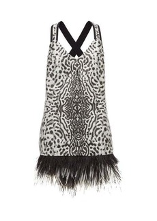 Proenza Schouler Feather-hem leopard-jacquard mini dress