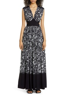 Proenza Schouler Floral Cutout Maxi Dress