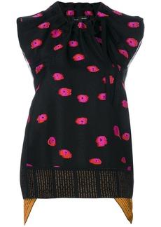 Proenza Schouler floral print drawstring neck blouse