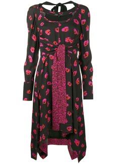 Proenza Schouler Floral print long sleeve dress - Black