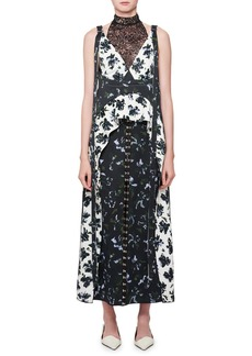 Proenza Schouler Floral-Print Mock-Neck Midi Dress