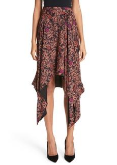 Proenza Schouler Floral Print Sharkbite Hem Skirt