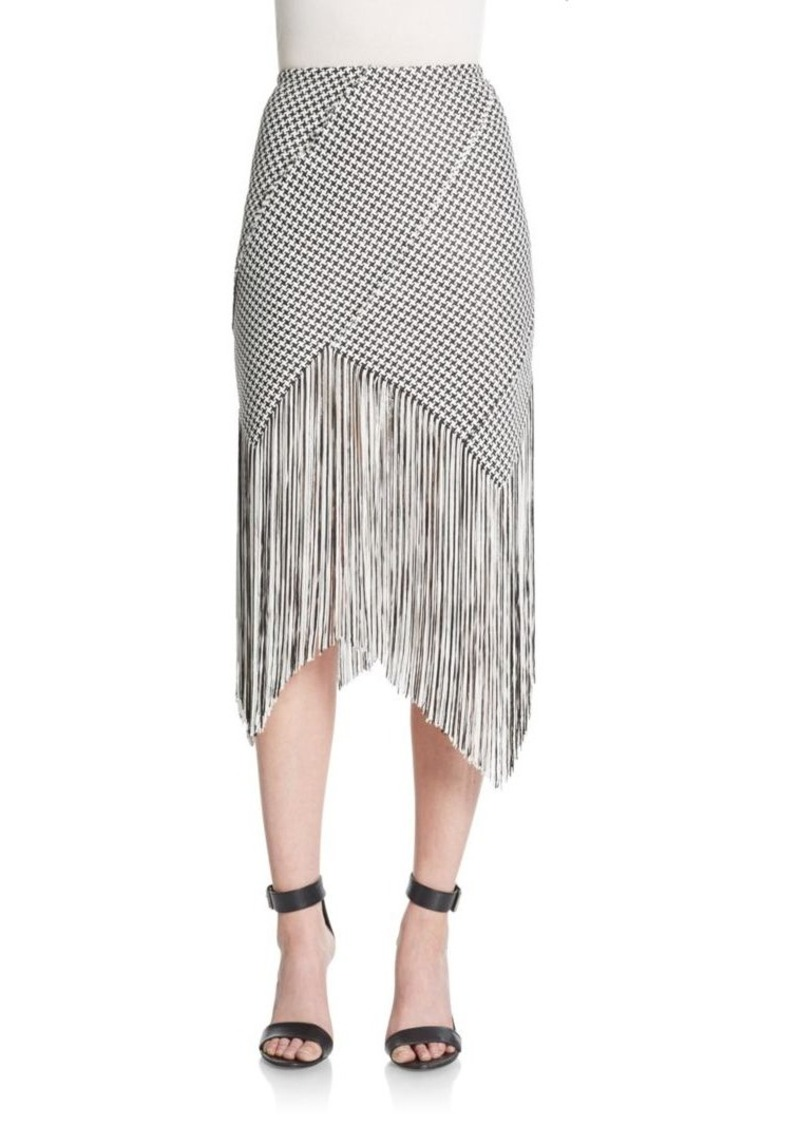 Proenza Schouler Fringed Houndstooth Skirt