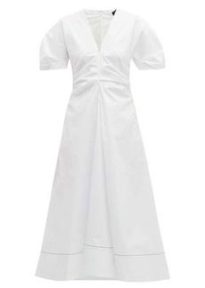 Proenza Schouler Gathered cotton-blend midi dress