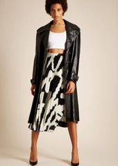 65ff65fe51 ... Proenza Schouler Graphic-print cut-out hem pleated-crepe midi skirt ...