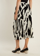 e3b3689846 ... Proenza Schouler Graphic-print cut-out hem pleated-crepe midi skirt