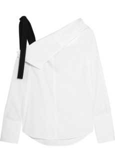 Proenza Schouler Grosgrain-trimmed asymmetric cotton-poplin top