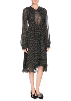 Proenza Schouler Keyhole-Front Long-Sleeve Tiger-Print Chiffon Dress