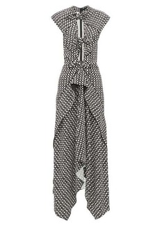 Proenza Schouler Knotted cut-out checked maxi dress