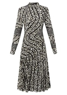 Proenza Schouler Lace-panel printed silk-blend dress