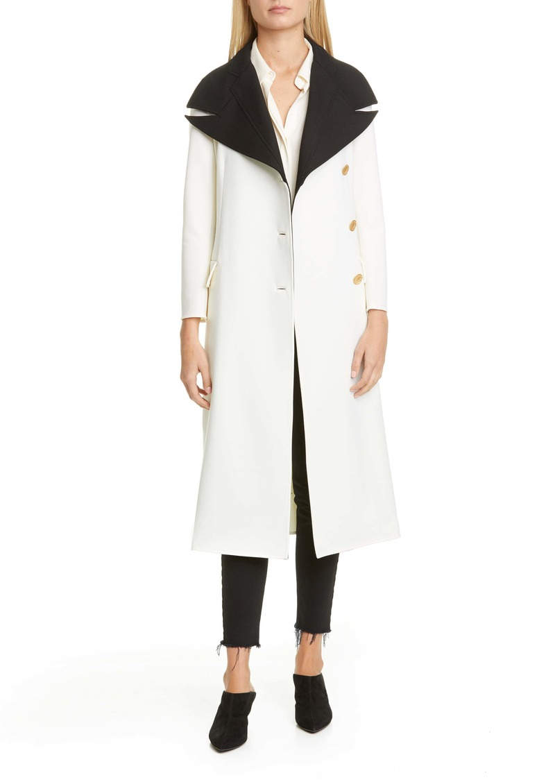 Proenza Schouler Layered Contrast Lapel Wool Blend Coat