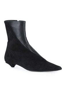 Proenza Schouler Leather & Suede Kitten-Heel Booties