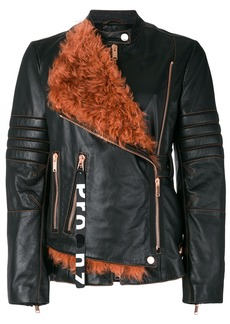Proenza Schouler Leather Belted Moto Jacket with Shearling Panel -