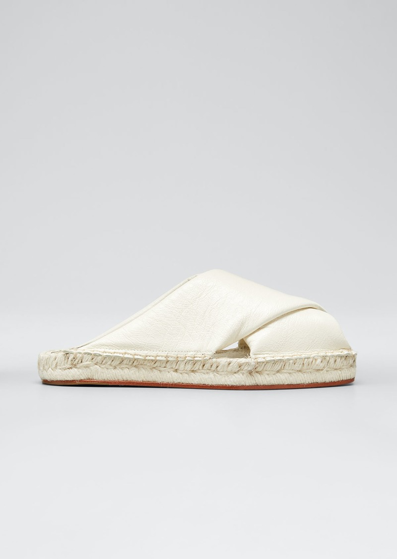 Proenza Schouler Leather Peep-Toe Espadrille Slide Sandals  White
