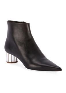Proenza Schouler Leather Pointed Mirror-Heel Booties  Black