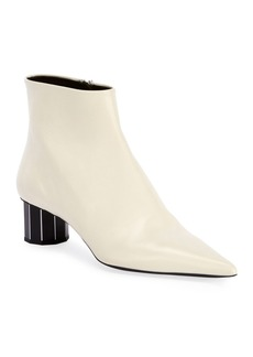 Proenza Schouler Leather Pointed Mirror-Heel Booties  White