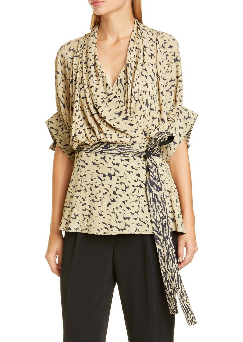 Proenza Schouler Leopard Print Drape Faux-Wrap Blouse