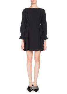 Proenza Schouler Long-Sleeve Cinched-Waist Textured Crepe Mini Dress