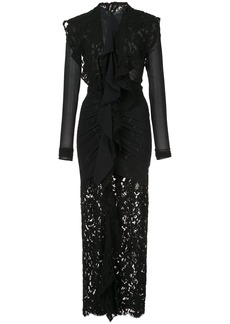 Proenza Schouler Long Sleeve Corded Lace Dress - Black