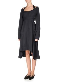 Proenza Schouler Long-Sleeve Faux-Wrap Harness Dress