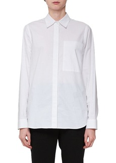 Proenza Schouler Long-Sleeve Hook-Back Collared Blouse