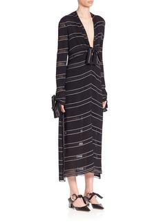 Long Sleeve Pinstriped Dress
