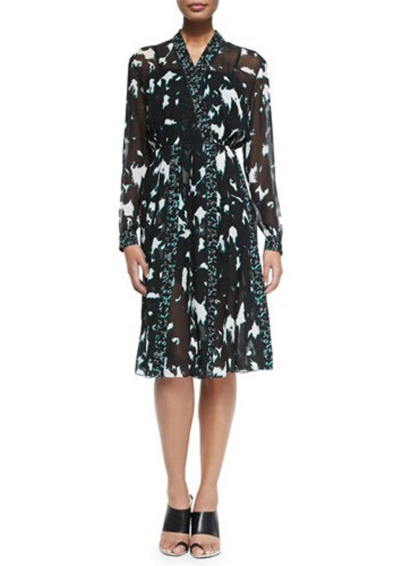 Proenza Schouler Long-Sleeve Printed Dress W/ Pleated Skirt
