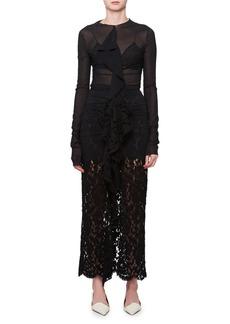 Proenza Schouler Long-Sleeve Ruffle-Front Lace Gown