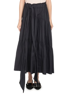 Proenza Schouler Long Tiered Poplin A-Line Skirt