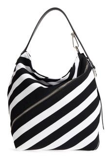 Proenza Schouler Medium Asymmetric Zip Stripe Textile Hobo