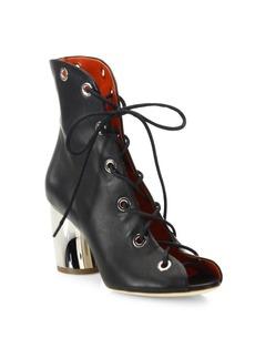 Proenza Schouler Metal-Heel Leather Lace-Up Booties